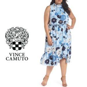 Plus Vince Camuto Blue Floral Midi Dress